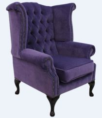 Chesterfield Fabric Queen Anne High Back Wing Chair Pimlico Lupin