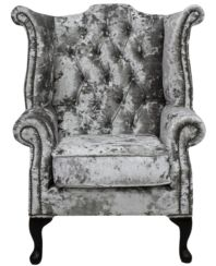 Chesterfield Velvet Queen Anne High Back Wing Chair Lustro Argent