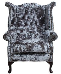 Chesterfield Velvet Queen Anne High Back Wing Chair Lustro Flint