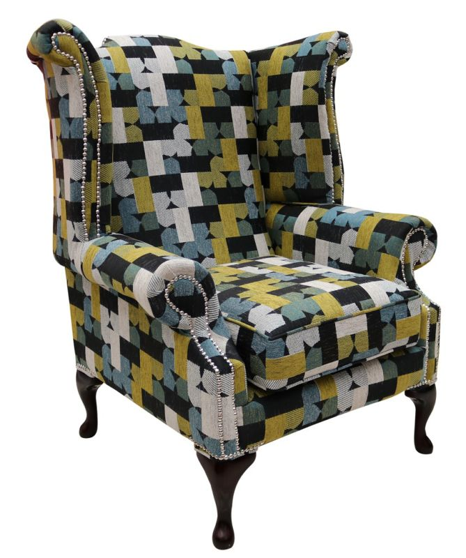 Chesterfield Patchwork Avici Queen Anne Wing Chair Furniturecompare
