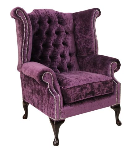 Chesterfield Queen Anne High Back Wing Chair Modena Amethyst Velvet