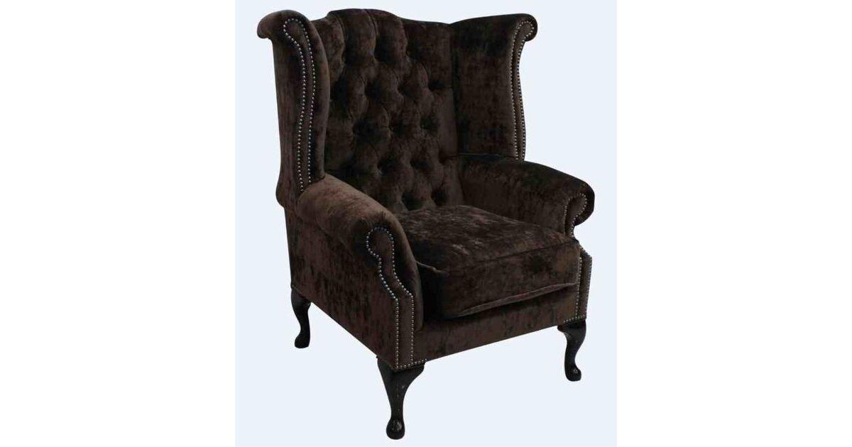 Dark Brown Velvet Chesterfield High Back Wing Chair