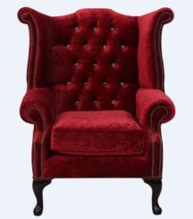 Chesterfield Crystal Queen Anne High Back Wing Chair Modena Pillarbox Red Velvet
