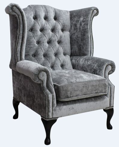 Chesterfield Queen Anne High Back Wing Chair Modena Silver Velvet