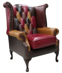 Chesterfield Patchwork Queen Anne Wing Chair Old English Leather