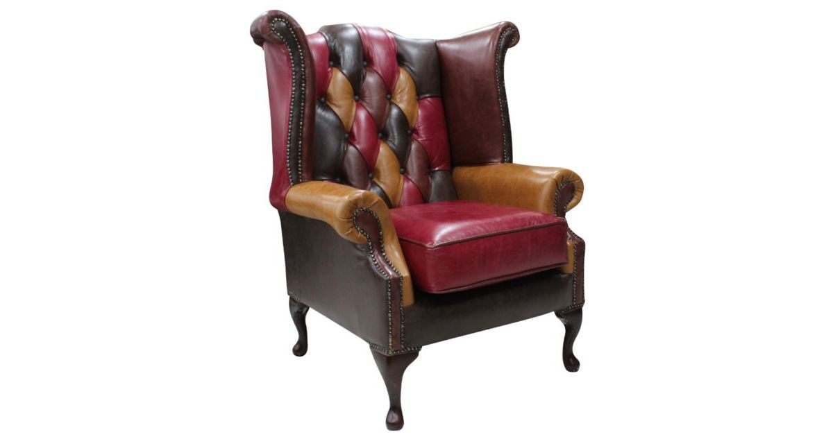 Chesterfield Patchwork Queen Anne Wing Chair Old English