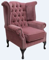 Chesterfield Fabric Queen Anne High Back Wing Chair Pimlico Plum