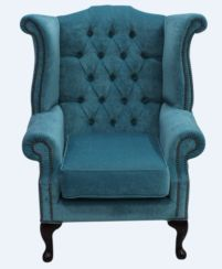 Chesterfield Fabric Queen Anne High Back Wing Chair Pimlico Teal