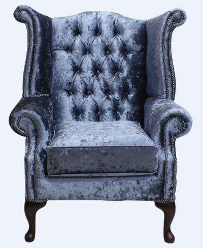 Chesterfield Velvet Queen Anne High Back Wing Chair Senso Dusk