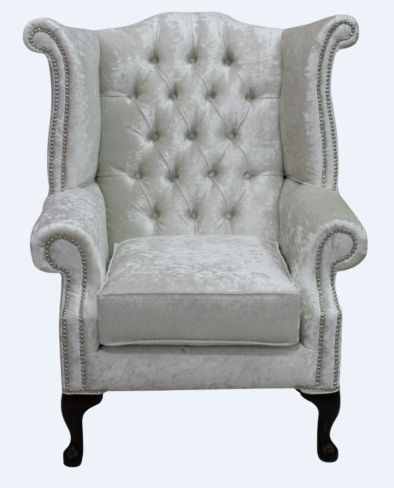 Chesterfield Queen Anne High Back Wing Chair Shimmer Pearl Velvet