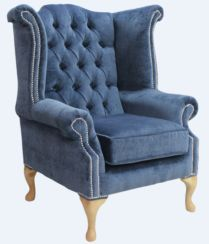 Chesterfield Queen Anne High Back Wing Chair Velluto Blue Fabric Yew Feet