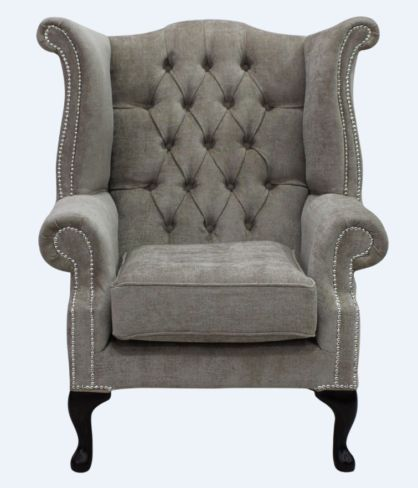 Chesterfield Fabric Queen Anne High Back Wing Chair Velluto Fudge Fabric