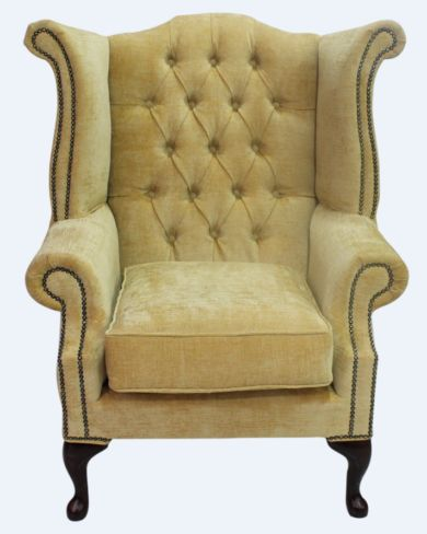 Chesterfield Fabric Queen Anne High Back Wing Chair Velluto Gold