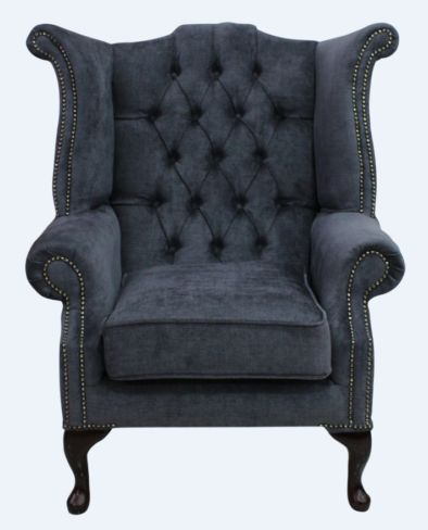 Grey Fabric Chesterfield High Back chair | DesignerSofas4U