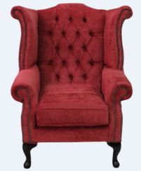 Chesterfield Fabric Queen Anne High Back Wing Chair Velluto Red