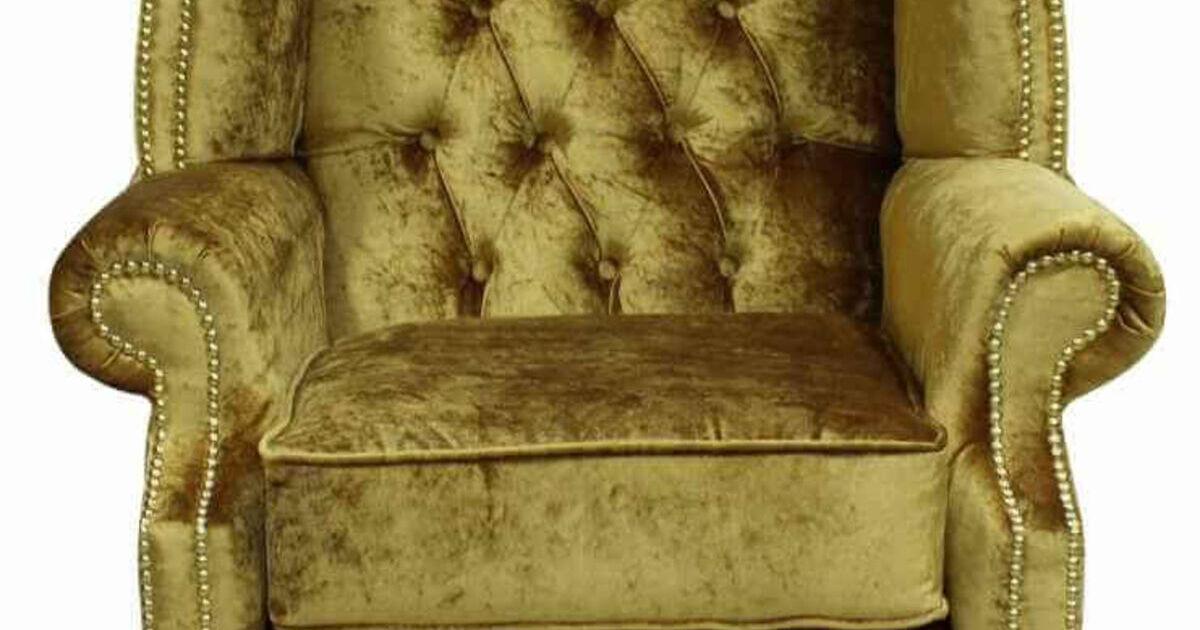 Gold Velvet Chesterfield High Back Wing Chair