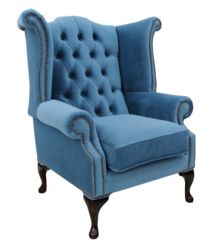 Chesterfield Velvet Queen Anne High Back Wing Chair Amalfi Cadet
