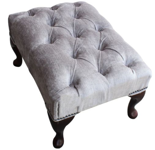 Chesterfield Queen Anne Footstool Belvedere Pewter Grey Fabric