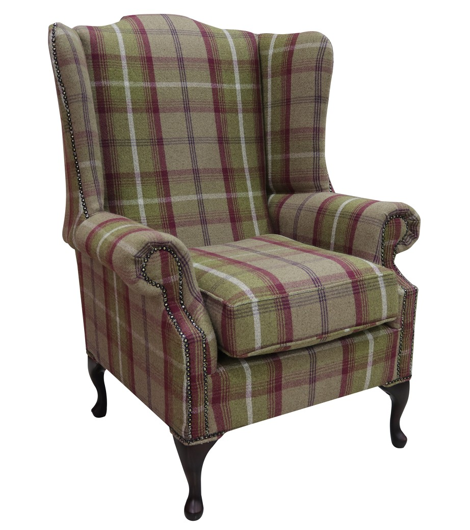 Chesterfield Saxon Mallory High Back Wing Chair Balmoral Heather Check P S Fabric