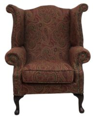 Chesterfield Saxon Queen Anne Wool Wing High Back Armchair Mac Claret