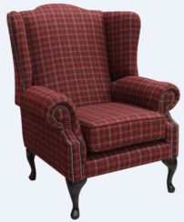 Chesterfield Saxon Mallory Wool Wing Chair Fireside High Back Armchair Balmoral Claret Check Tweed