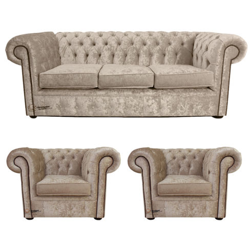 Chesterfield 3 Seater Settee + 2 x Club Chairs Senso Oyster Grey Velvet Sofa Offer