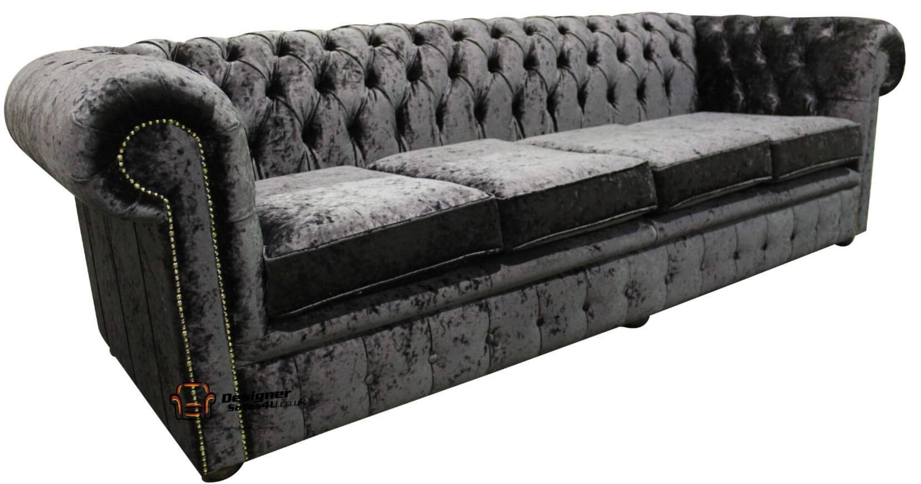 Ebony black velvet Chesterfield sofa | DesingerSofas4U