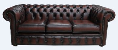 Chesterfield 3 Seater Antique Rust Leather Sofa Offer