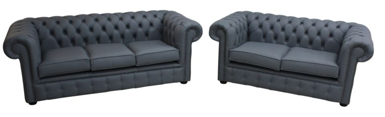 Chesterfield 3 Seater + 2 Seater Shelly Piping Grey Leather Sofa Suite Offer