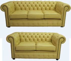 Chesterfield 3 Seater + 2 Seater Shelly Deluca Yellow Leather Sofa Suite Offer
