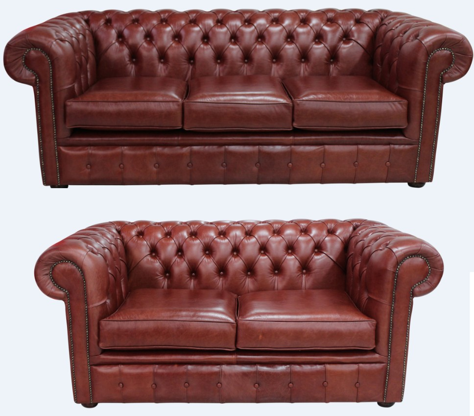 - Chesterfield Luxury 3+2 Old English Chestnut Real Leather Sofa