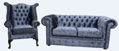 Chesterfield 2 Seater Settee + Queen Anne Armchair Senso Dusk Velvet Sofa Offer