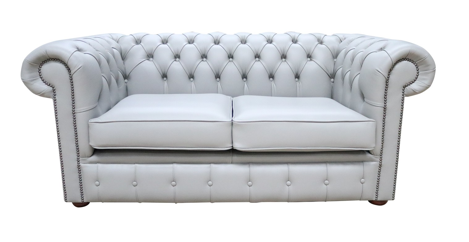 Chesterfield 2 Seater Sofa Settee Vele Huxley Grey Leather Sofa Offer