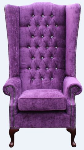 Chesterfield Soho Crystal Diamante Velvet High Back Wing Chair Velluto Amethyst Purple