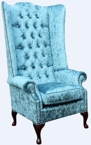 Chesterfield Soho Crystal Diamante Velvet High Back Wing Chair Shimmer Aqua Blue