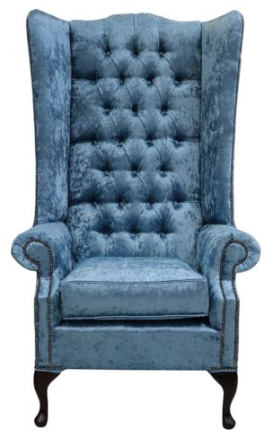 Chesterfield Soho Velvet High Back Wing Chair Shimmer Aqua Blue