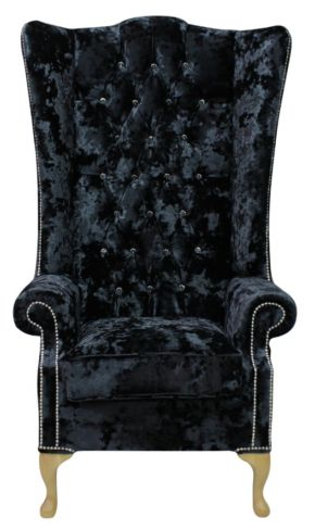 Chesterfield Soho Crystal Diamante Velvet High Back Wing Chair Lustro Black
