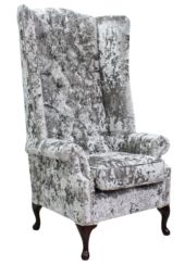 Chesterfield Soho Velvet High Back Wing Chair Lustro Argent