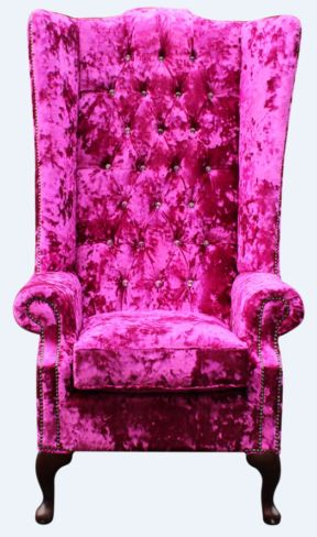 Chesterfield Soho Crystal Diamante Velvet High Back Wing Chair Shimmer Fuchsia Pink
