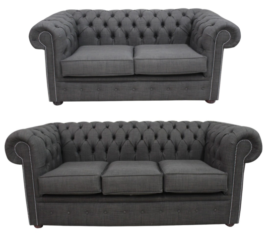 Chesterfield 3 Seater + 2 Seater Sofa Suite Charles Linen Charcoal Grey Offer