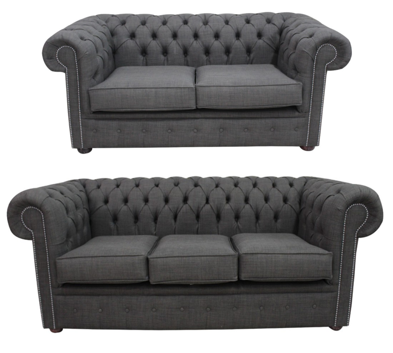 Chesterfield 3 Seater + 2 Seater Sofa Suite Charles Linen Charcoal…