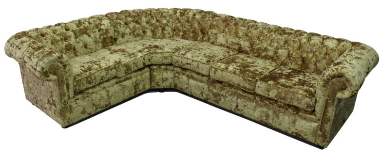 Chesterfield Crystal Velvet 3 Seater + Corner + 2 Seater Sofa Lustro Gilded