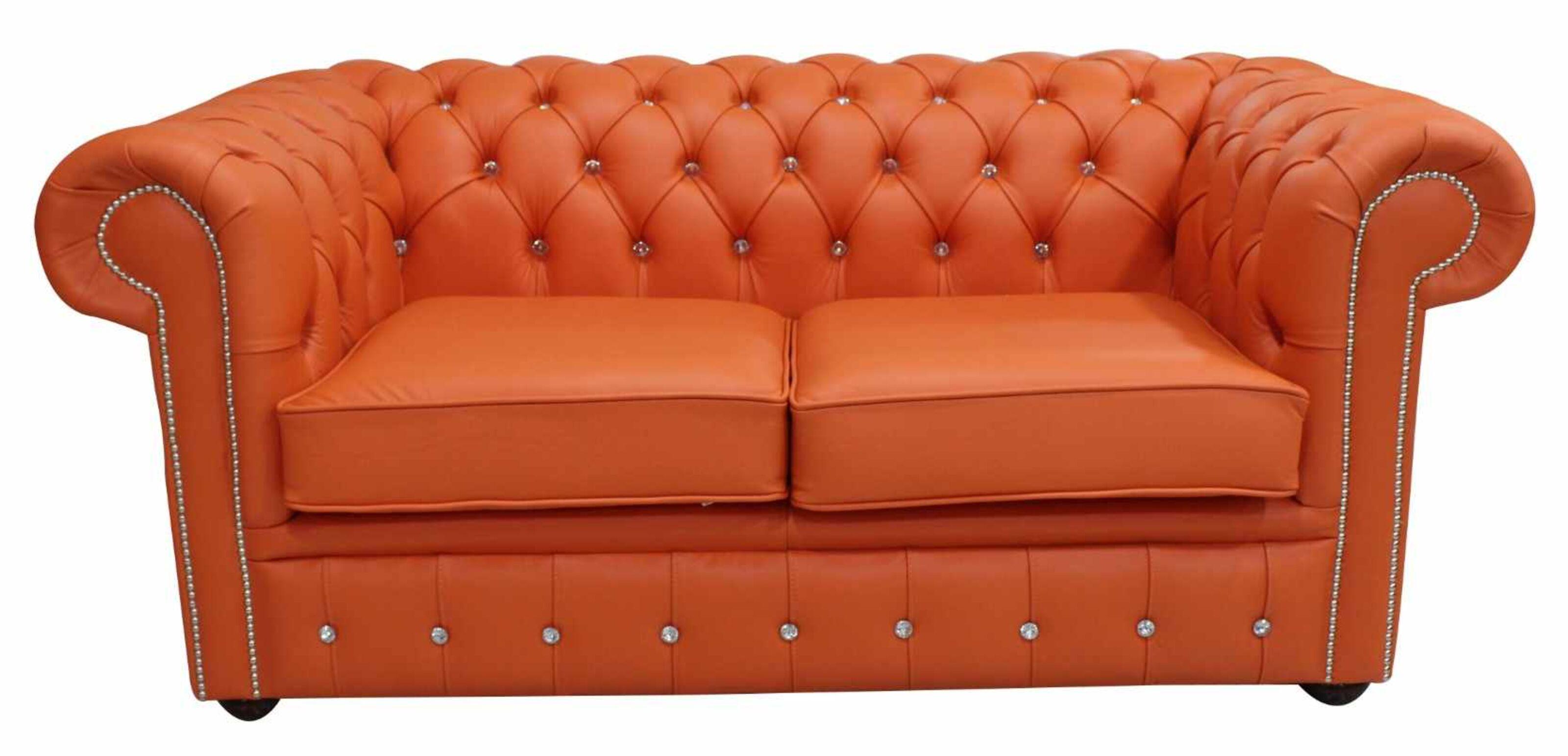 Chesterfield 2 Seater CRYSTALLIZED™ Diamond Flamenco Orange Leather Sofa  Offer