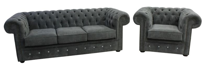 Chesterfield Crystal Diamond 3 Seater + Club Chair Keira Pewter Fabric Sofa Offer