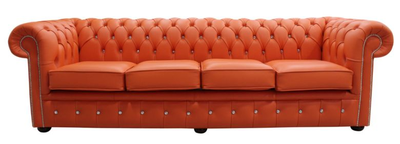 Chesterfield Crystal Diamond 4 Seater Leather Sofa Flamenco Orange Leather Offer
