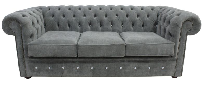 Chesterfield Crystal Diamond 3 Seater Keira Pewter Fabric Sofa Offer
