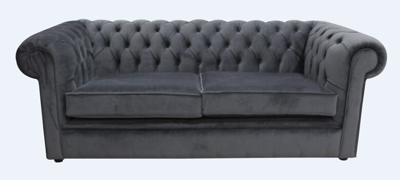 Chesterfield Thomas 3 Seater Settee Amalfi Anthracite Velvet Sofa Offer