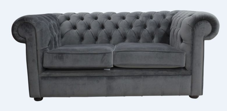 Chesterfield Thomas 2 Seater Settee Amalfi Anthracite Velvet Sofa Offer