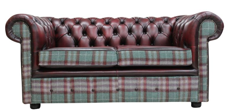 Chesterfield 2 Seater Threshfield Jade Check Wool & Antique Oxblood Leather Sofa Offer