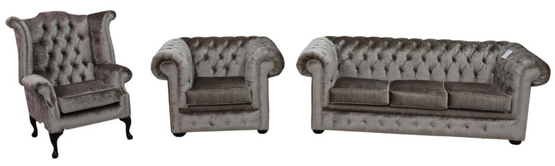 Chesterfield 3 Piece Suite Boutique Beige Velvet Sofa Suite Offer